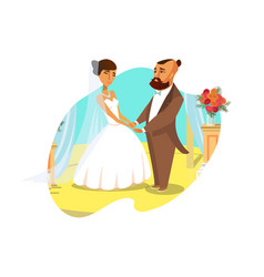 wedding ceremony poster postcard concept vector image