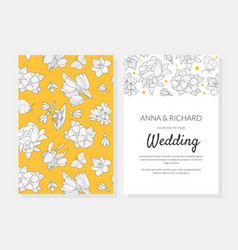 wedding invitation card template with spring vector image