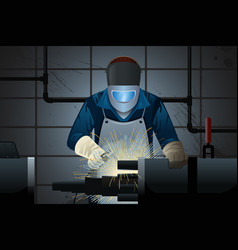 welder working on a machine vector image