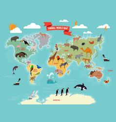Wildlife animals on world map vector