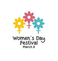 Womens day festival logo template design vector