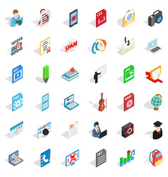 Workbook icons set isometric style vector