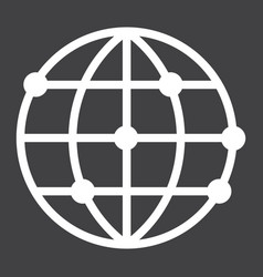Worldwide line icon globe and website vector