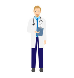 young doctor with stethoscope vector image
