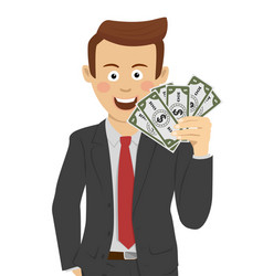 young happy businessman with fan of money vector image