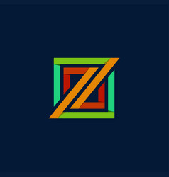 z rectangular logo vector image