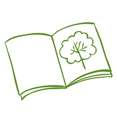 A book with a drawing of a tree vector image vector image