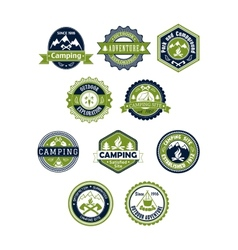Camping and travel icons or badges vector image vector image