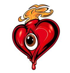 cartoon red heart vector image vector image