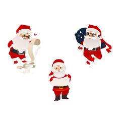 flat santa claus scenes set vector image