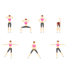 girl dioing exercise on white background vector image