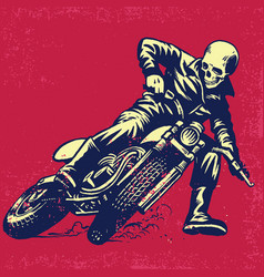 hand drawing of skull riding a vintage motorcycle vector image vector image