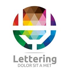 Logo Abstract Lettering Y Rainbow Alphabet Icon vector image