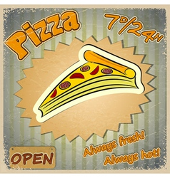 Vintage grunge card with a pizza menu vector image