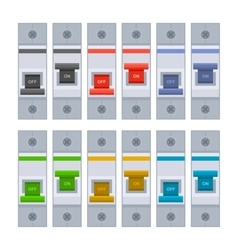 Color Circuit Breakers Set on White Background vector image
