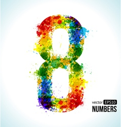 Color paint splashes Gradient Number 8 vector image vector image