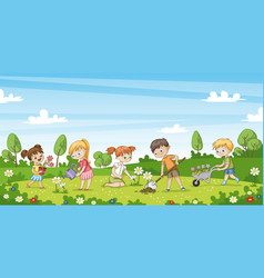 cute children work in the garden funny cartoon vector image
