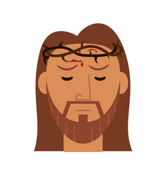face jesus christ with crown thorns vector image