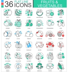 Fruits and vegetables flat line outline vector image vector image