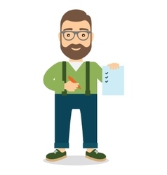 Man holds sheet of paper with list and pen in hand vector image