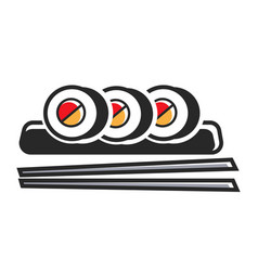 sushi rolls on plate with chopsticks isolated vector image vector image