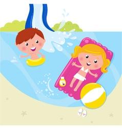 children in swimming pool vector image