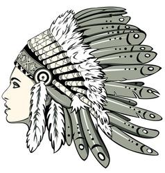 Girl in indian headdress vector image