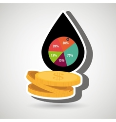 oil and currency isolated icon design vector image