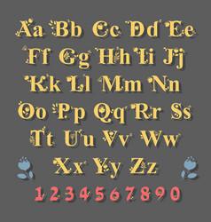 Yellow alphabet with floral decor vector