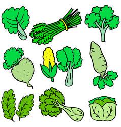 art of fresh vegetables doodles vector image vector image