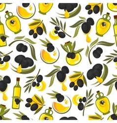 Black olives branches and olive oil background vector image