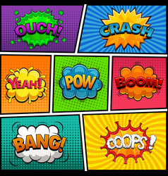 comic speech bubbles background divided by lines vector image