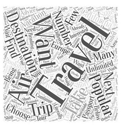 Destinations popular for air travelers word cloud vector