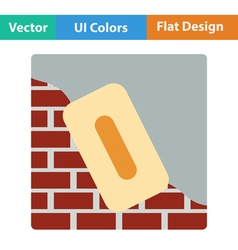Flat design icon of plastered brick wall vector image vector image