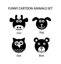 funny cartoon style animals icons set vector image vector image