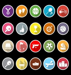 Sport game athletic icons with long shadow vector image