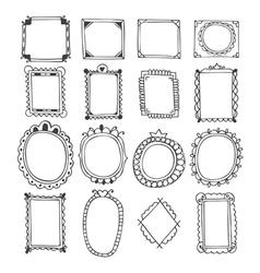 Vintage hand drawn frames Doodle set of design vector image vector image