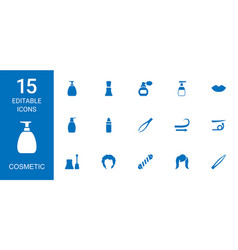 15 cosmetic icons vector