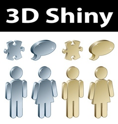 3d metallic signs vector