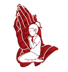 A child praying to god little girl prayer vector