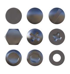 a set of metal sliver screws and bolt vector image