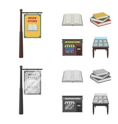 A signboard a bookstore a stack of books an vector