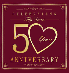 Anniversary retro vintage background 50 years vector