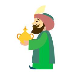 arabian king balthazar icon cartoon style vector image