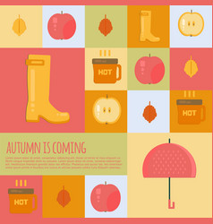 Autumn stuff icons in flat style vector