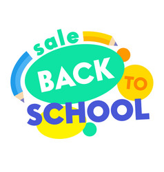 back to school sale banner with colorful title and vector image