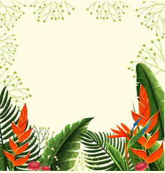 Background design with bird of paradise flowers vector