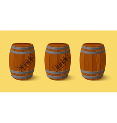 Barrel wooden keg for wine or beer vector