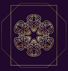 Beautiful golden mandala on dark purple background vector