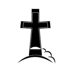Black grave icon - funeral or grave memoria vector